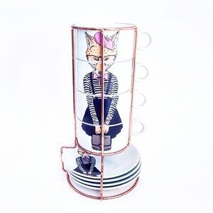 QUEENWEST Copper + Fox Stackable Cup + Saucer Set